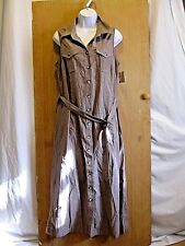 NWT Croft & Barrow Tan Belted Cotton Button Down Sleeveless Dress Womens Size 14