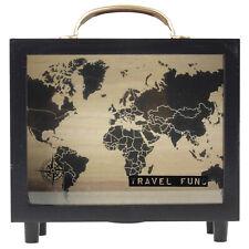 Wooden Black Frame Glass Panel Travel Money Coin Box Piggy Bank Savings Fund Jar