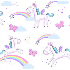 Unicorns Wallpaper & Border Butterflies Rainbow Stars Girls Bedroom fun4walls