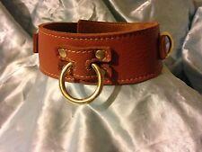Handmade English leather Collar  Brown & Brass Fittings. Fetish , Bondage