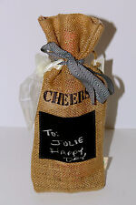 Darling Chalk Board Embroidered Burlap Wine Gift Bag-Cheers