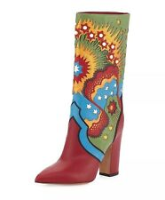 NIB Valentino Enchanted Wonderland Red/Blue Mid-Calf Boots Size 37/7 $2495.00