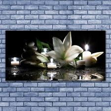 Glasbilder Wandbild Druck auf Glas 140x70 Steine Blume Kerzen Kunst
