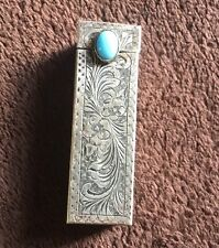 Vintage Italy 800 Silver Turquoise Lipstick Holder- Pop Up Mirror