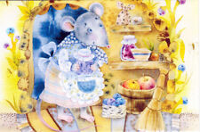 Mouse in the burrow prepares fruits Modern Russian postcard by Elina Moiseenko