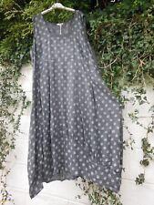 "QUIRKY LINEN BALLOON MAXI DRESS BNWT GREY 50"" BUST LAGENLOOK ETHNIC HIPPY ARTY"