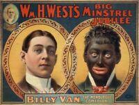 BLACK AMERICANA WM H WEST COMEDY SHOW HEAVY DUTY USA MADE METAL ADVERTISING SIGN