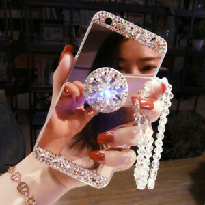 Girls' Mirror Luxury Bling Diamond Holder Stand Phone Case Cover & Crystal Strap