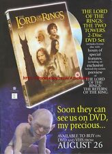 Lord Of The Rings The Two Towers DVD & VHS 2003 Magazine Advert #2036