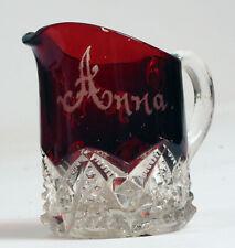 1902 CUT CRYSTAL CRANBERRY RUBY GLASS CREAMER SOUVENIR REVERE BEACH ANNA !!