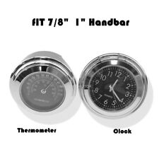 """7/8"""" 1"""" Motorcycle Accessory Handlebar Mount Clock Watch & Thermometer"""