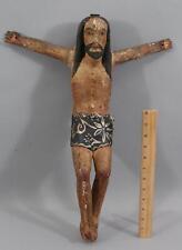 Lrg Antique 19thC Folk Art Carved Wood Spanish Colonial Santos Jesus Crucifix