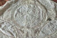 "Antique c1870 French Normandy Lace Handmade Boudoir Pillow Cover~L-14""X W-28"""