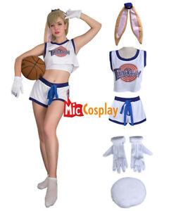USA Stock Lola Bunny Rabbit Cosplay Costume Cheerleader Uniform with Ears Gloves