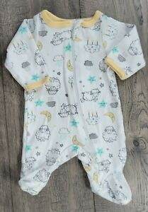 Baby Girl Boy Clothes Wonder Nations Preemie Yellow lamb Moon Star Footed Outfit