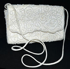Regale Handmade White Lace & Small Faux Pearls Satin Clutch Shoulder Bag NWOT