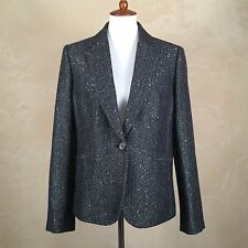 NWT J.Crew Campbell Blazer Sparkle Donegal Wool Black Size 16 Jacket E4566 $198