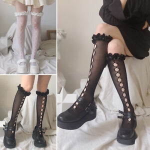 Women Girls Lolita Knee-high Lace Gothic Black Hollow Socks Ruffle Top Stockings