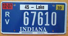 Indiana 2010 LAKE COUNTY  RECREATIONAL VEHICLE License Plate NICE # 67610
