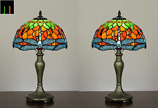 Pair -JT Tiffany Dragonfly Stained Glass Bedside Side Table Lamp Light Leadlight
