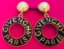 Givenchy Vintage Earrings Jumbo Hoop Haute Couture Amber Rose MINT!