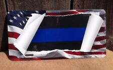 Thin Blue Line Scroll Flag Wholesale Metal Novelty Wall Decor License Plate
