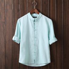 Vintage Mens Plain Hemp Collarless Shirt Full Sleeved Tops Chinese Style Blouse Light Blue CH 5xl 3xl