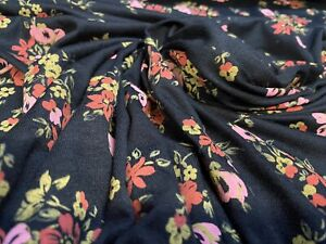Viscose Elastane Jersey Fabric,Black Pink & Coral Ditsy Floral Print, Per Metre