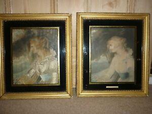 Antique pair of portraits of 18th century lady, Perdita