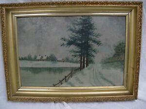 Vintage Winter Farm Scene Landscape Oil On Board Pennsylvania Artist F.M Dyer