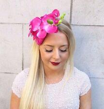 Hot Pink Velvet Orchid Flower Fascinator Hat Races Ascot Headpiece Headband 2546
