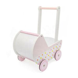 Holzpuppenwagen Puppenwagen aus Holz Lauflernwagen Walker weiß rosa retro