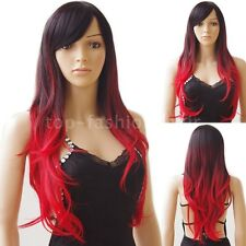 Fancy Ombre Hair Wig Anime Long Curly Straight Wigs Cosplay Costume Synthetic k&