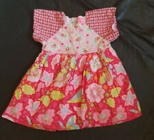 Room Seven Dress Pink Floral Dot Baby Girl Toddler 80 18 mo Boutique Lined