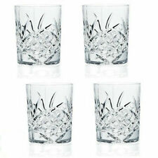 Crystal Glasses Set Of 4 Double Old Fashioned Irish Cut Design Vintage Glass