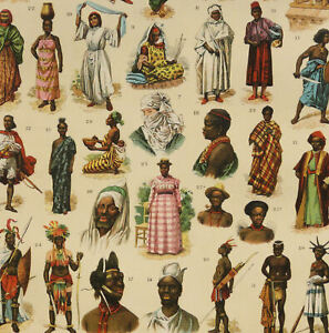1900 Antique lithograph of AFRICAN PEOPLE. AFRICA. Anthropology. Race of Human.
