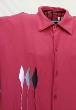 BOBBY CHAN LUXURY CAMP SHIRT SILK BAMBOO M OPEN COLLAR RED EMBROIDERY BALLOONS