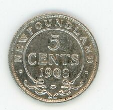 1908 Newfoundland Five Cents Silver Coin