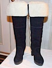 """Kelsi Dagger Rozelle Suede & Faux Fur Boots 1"""" Platform 4"""" Heel Women's 7.5"""