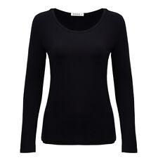 Scoop Neck Basic Long Sleeve T-Shirt Solid Cotton Stretch Women Plain Top M L XL
