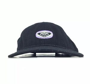 ROXY Embroidered Black Baseball Cap Hat Adj. Women's Wool Made In USA