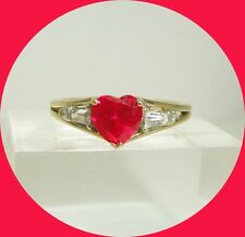 Lovely 10kt Yellow Gold Heart-Shaped Ruby Ring-- Size 7.25
