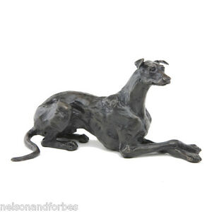 Solid Bronze Dog Sculpture Lying Greyhound by Sue Maclaurin - Nelson & Forbes