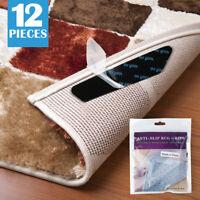 12PCS Rug Carpet Grippers - Anti Curling Slip Rubber Grip Rug Sticker Skid Tapes