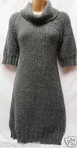BNWT NEXT new Ladie mid grey Chunky knit jumper dress longline tunic 6/8 XS
