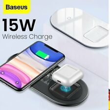 Baseus 2in1 Qi Wireless Charger Pad Fast Charging Dock For Airpods iPhone Galaxy