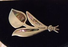 Vintage .925 Sterling Silver Abalone Pin Brooch Broach