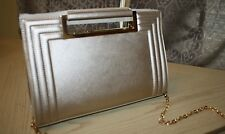 Versona Gold Faux Leather Handbag Structured Clutch Porthole Chain Strap New