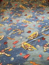 Disney TOY STORY Twin Flat Flannel Bed Sheet Vintage Quilting Fabric - BUZZ