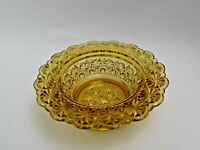 Amber Glass Peddle Stool Candy Nut Dish Change - Starburst Pattern Vintage *